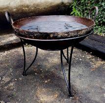KADAI FIRE BOWL, vintage style, Indian design, 89cm diam x 79cm H.