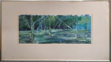 MANUELA SMITH 'Triangles in Landscape', acrylic, 30cm x 63cm, label verso.