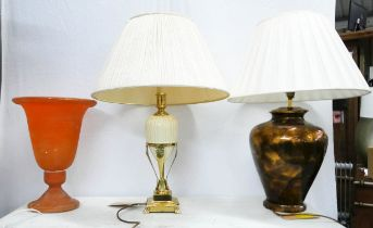 TABLE LAMPS, a collection of three, of various sizes and description, 71cm H at tallest. (3)