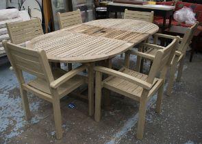 WINCHESTER TEAK GARDEN SET, including a table with retractable leaf, 75cm H x 110cm x 160cm L, 210cm