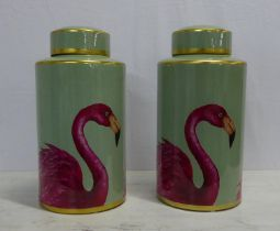 GINGER JARS, a pair, flamingo detail. (2)