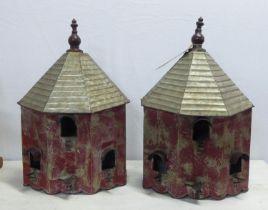 BIRD HOUSES, a pair, painted metal, house 32cm W x 16cm D x 49cm H. (2)