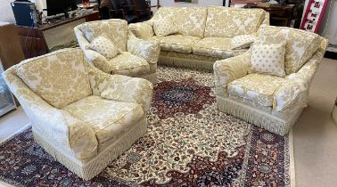 PETER GUILD FOUR PIECE SUITE, traditional country house style, floral damask upholstered with