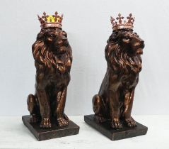 'THE QUEEN'S BEASTS', a pair, faux bronze, 55cm H.