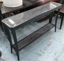 CONSOLE TABLE, contemporary design, faux shagreen top, 130cm x 30cm x 76cm.
