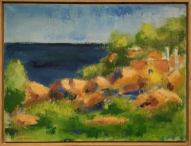 IVAN KYRUM (Danish born 1942) 'Landskab, Bornholm', oil on canvas, 55cm x 74cm, signed and dated,