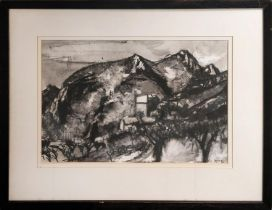 PETER SPENS (born 1961) 'Tuscany', watercolor and charcoal, 49cm x 33cm, signed, framed.