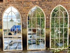 ARCHITECTURAL GARDEN WALL MIRRORS, a set of three, Gothic style arch toped design, 158cm x 66cm. (3)