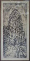 JOSE MARIA CANO (Spanish b.1959) 'The Gherkin', 2010, copper plate etching, E/A, signed and dated,