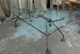 TECNO NOMOS TABLE BY NORMAN FOSTER, 220cm x 100cm x 73cm. (slight faults, chip to glass)