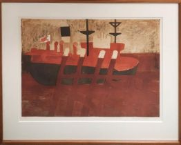 GEOFFREY ELLIOT (b. 1935) 'Coal Boat, Newhaven', lithograph, 45cm x 61cm, signed and numbered in