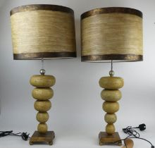 FLAMBEAU RETRO TABLE LAMPS, a pair, with shades, 84cm H. (2)