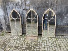 ARCHITECTURAL GARDEN WALL MIRRORS, a set of three, Gothic style, arch top design, 122cm x 56cm. (3)