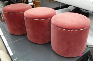 OKA COSTELLI OTTOMANS, a set of three, 42cm H x 45cm Diam. (3)