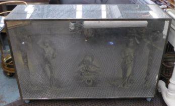 BAR, antiqued mirrored exterior with Italian design, 124cm x 36cm x 85cm.