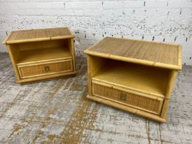 DAL VERA BEDSIDE/LAMP TABLES, a pair, 1960's Italian rattan and bamboo, 47cm H x 61cm x 41cm. (2)