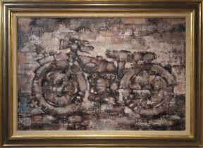 HUGH WILLIAMS (b.1928 USA) 'The Motor Cycle', oil on canvas, 53cm x 80cm, signed verso, framed.