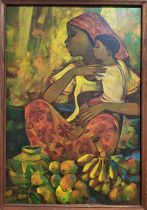 ROGER SAN MIGUEL (Philippines b.1940) 'Mother and Child', oil on canvas, signed and framed, 90cm x
