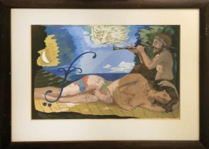 CRAIG PEACOCK (b.1961 Scotland), 'Woman and Centaur' gouache, 39cm x 55cm, signed and dated '92,