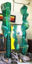 LUCIEN SIMON, glass sculptures, a pair, 225cm H each. (2)
