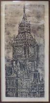JOSÉ-MARIA CANO (Spanish b.1959) 'Queen Elizabeth Tower', 2010, copper plate etching, E/A, signed