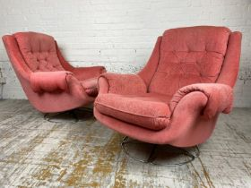 BRUNO MATHSSON ATTRIBUTED SWIVEL LOUNGE CHAIRS, a pair, circa 1970's pink velour upholstered with