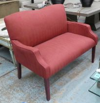 HALL BENCH, contemporary design, red fabric upholstered, 117cm.