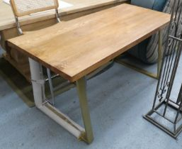 DINING TABLE, contemporary bespoke design, with gilt metal trapeze supports, 152cm x 70cm x 77cm.