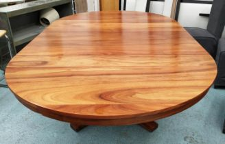 ATTRIBUTED TO MARTIN & MCARTHER HAIWIIAN KOAWOOD EXTENDABLE DINING TABLE, 137cm Diam x 76cm H,