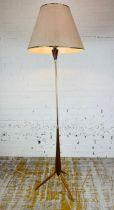 FLOOR LAMP, 1960's Danish teak and brass, with shade, 176cm H.