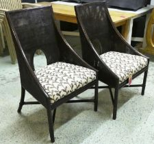 MCGUIRE CANED ARMCHAIRS, a set of four, by Barbara Barry, 101cm H. (4)