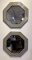 WALL MIRRORS, a pair, 1970's Italian design, octagonal inlaid frames, 61cm diam. (2)