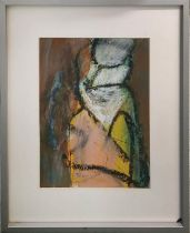 MALGORZATA BIALOKOZ SMITH (b. 1937 Poland) 'Abstract', oil on paper, 34cm x 25cm, signed and framed.