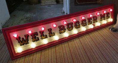 WELL BUGGER ME, by Bee Rich, bespoke made light up wall art, 199cm x 41cm.