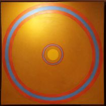 MORRIS CHACKAS (1916-2000) 'Abstract Circles', oil on canvas, 133cm x 133cm, signed and framed.