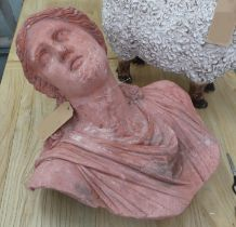 BUST OF A MAIDEN, terracotta, 65cm H.