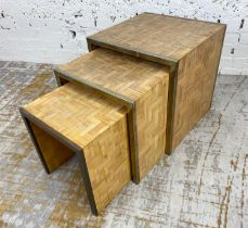 TOMMASO BARBI ATTRIBUTED NESTING TABLES, 1970's Italian, tessalated reed parquetry and chromed