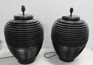 TABLE LAMPS, a pair, contemporary design, 54cm H. (2) (with faults to one fitting)