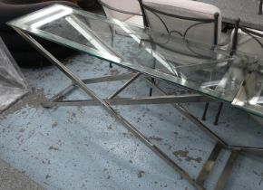 CONSOLE TABLE, contemporary design, polished metal and glass, 152cm x 45cm x 75cm.
