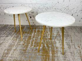 LAMP TABLES, a pair, 1970's Italian design, circular marble tops on tripod gilt metal legs, 54cm H x