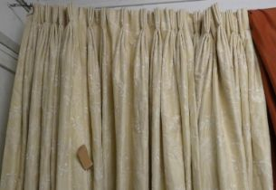 CURTAINS, two pairs in an embroidered ivory silk, lined and interlined, one pair each curtain approx