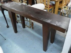 CONSOLE TABLE, contemporary design, 184cm x 40cm x 81cm H. (scratches to top)