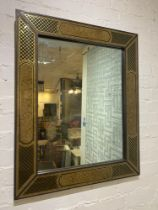 WALL MIRROR, 1970's Italian verre eglomise and brass frame, purchased from Charles Hammond Ltd,