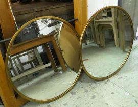 CIRCULAR WALL MIRRORS, a pair, gilt frames, 80cm Diam. (2)