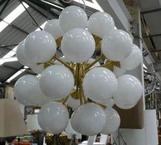 CEILING LIGHT, Art Deco inspired design, gilt metal, 95cm Drop approx.