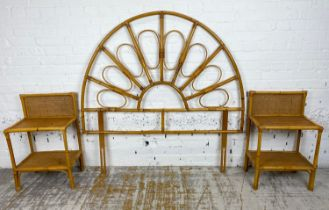 BEDSIDE/LAMP TABLES, a pair, vintage 1970's rattan and bamboo, 73cm H x 46cm x 31cm together with