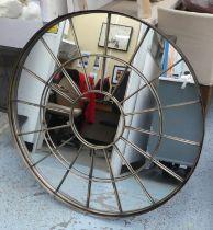 CIRCULAR WALL MIRROR, bronzed finish frame, 100cm Diam.