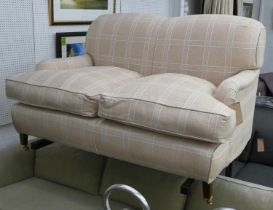 HOWARD STYLE SOFA, checked fabric upholstered, 145cm x 91cm H.