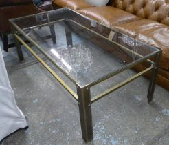SOHO HOUSE LOW TABLE, contemporary brass with glass top, 140cm x 71cm x 50cm.