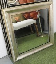 WALL MIRROR, silvered frame, bevelled plate, 81cm x 80cm.